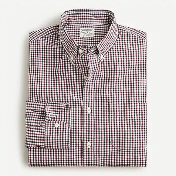 Stretch Secret Wash cotton poplin shirt in gingham